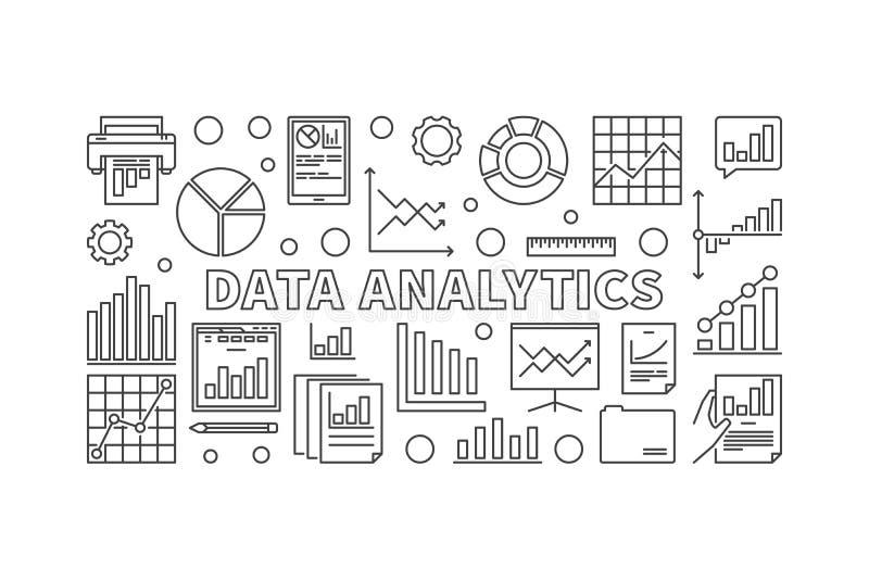 Data analytics concept vector line illustration vector illustration