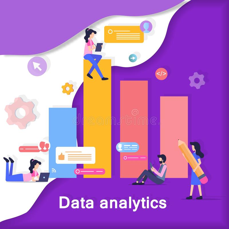Data Analytics Development Banner Illustration. Internet Research Character Design Chart Graph. Content Analyze Bar Infographic. People Collect Social Media stock illustration