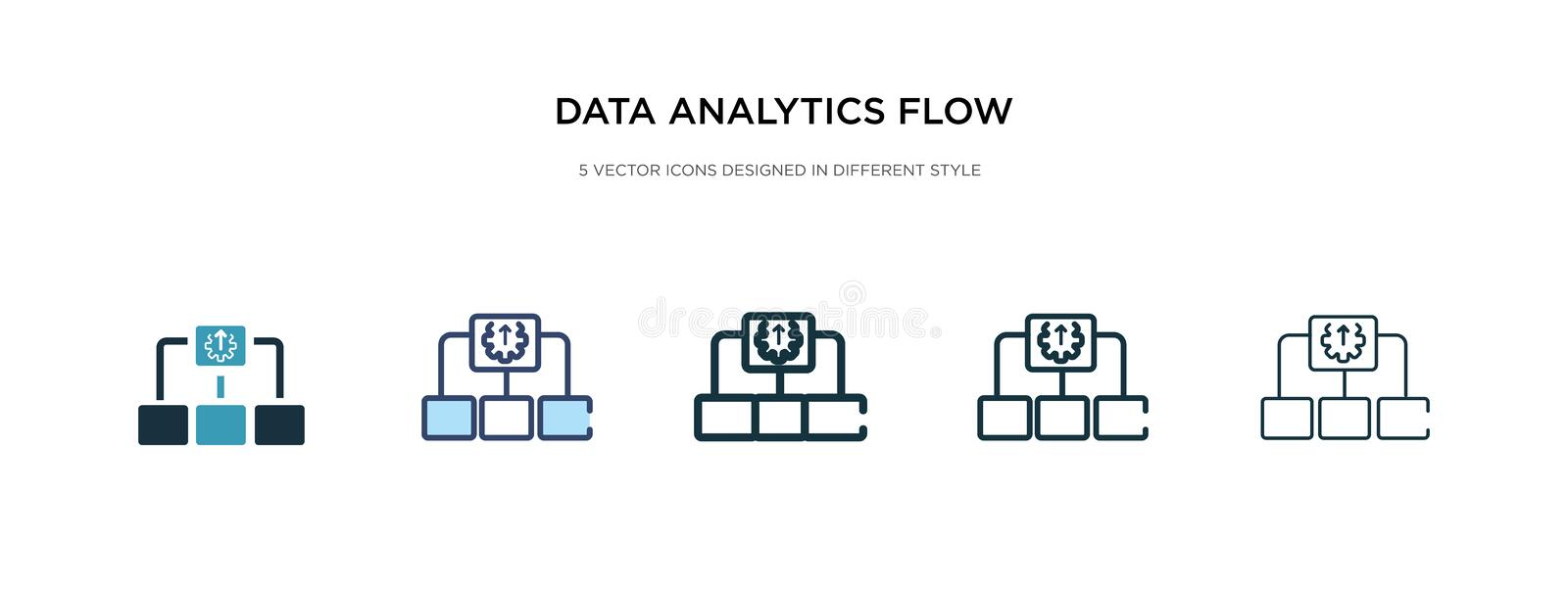 Data analytics flow chart icon in different style vector illustration. two colored and black data analytics flow chart vector. Icons designed in filled, outline royalty free illustration