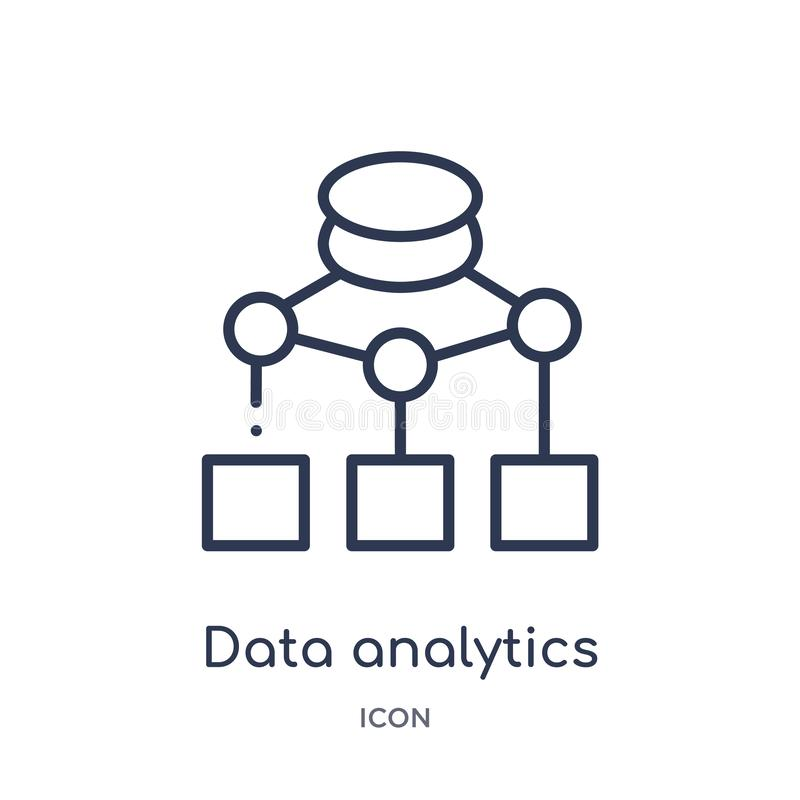 Data analytics flow chart icon from user interface outline collection. Thin line data analytics flow chart icon isolated on white. Background vector illustration