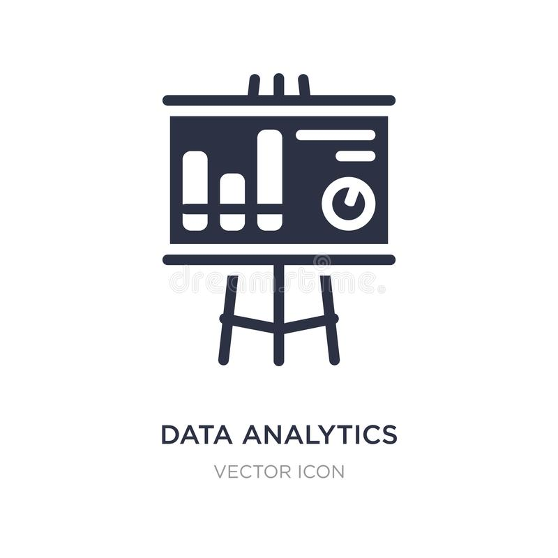 Data analytics graphic on a presentation screen icon on white background. Simple element illustration from Business concept. Data analytics graphic on a royalty free illustration