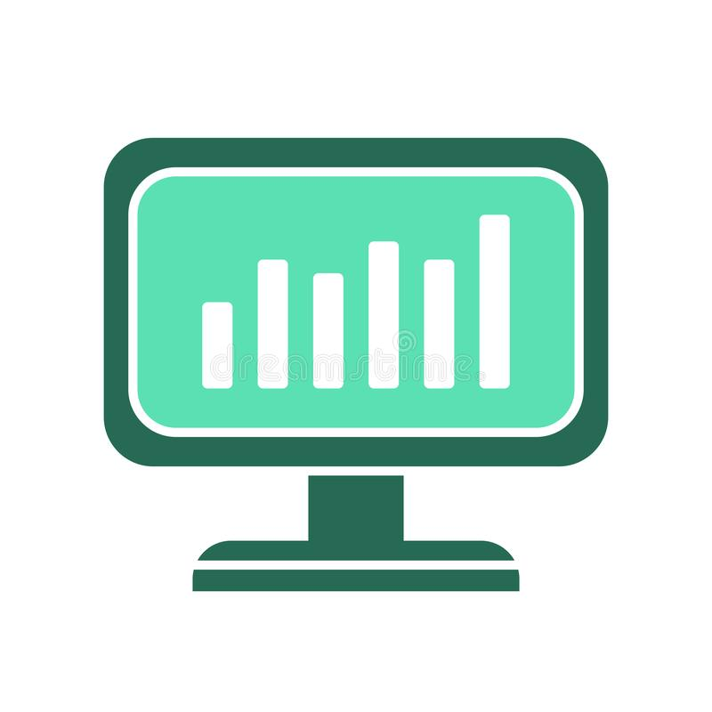 Data analytics icon. computer screen symbol. pc monitor sign. flat style illustration - Vector royalty free illustration