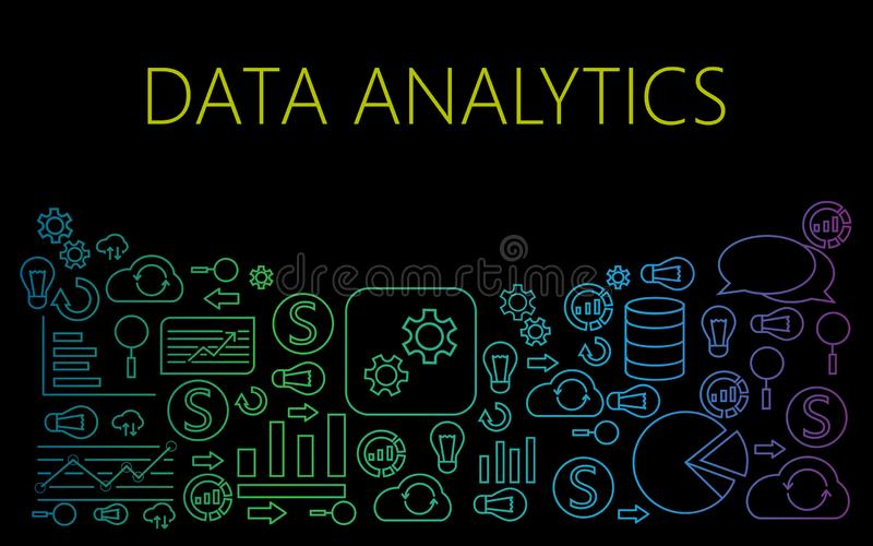 Data analytics icons on black background vector mockup stock illustration