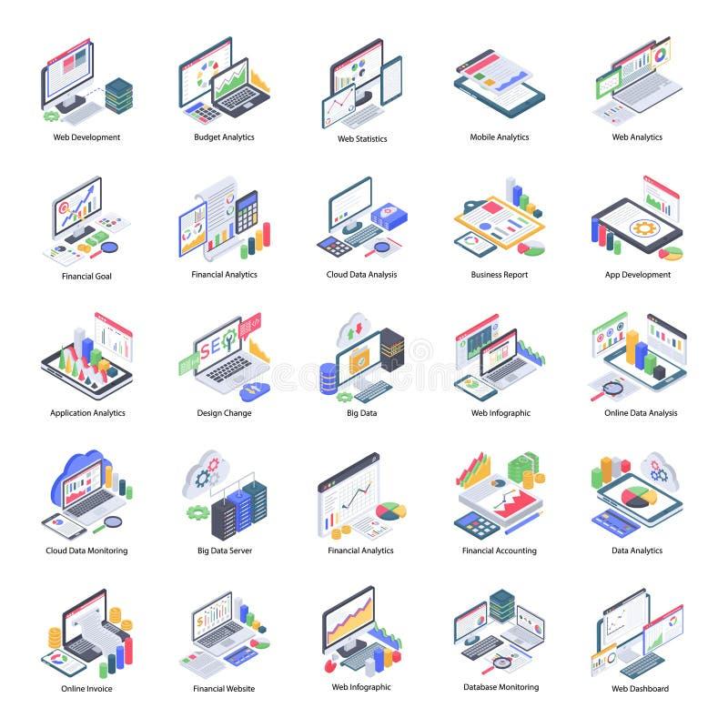 Data Analytics Icons Set stock illustration