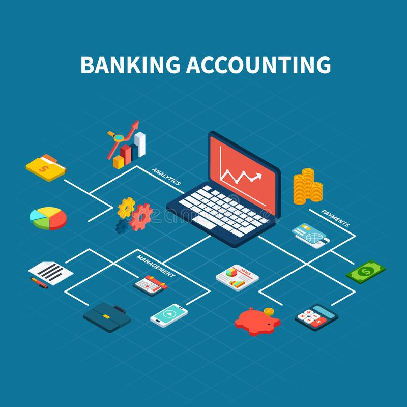 Bank Accounting Isometric Flowchart. Data analytics isometric composition with isolated money payments and business management related icons connected with lines vector illustration