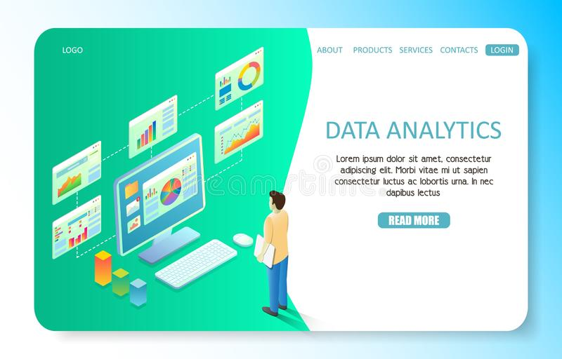 Data analytics landing page website vector template royalty free illustration