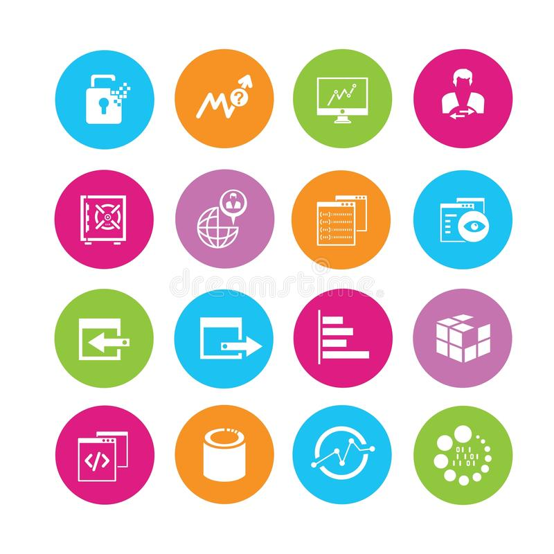 Data analytics and network icons. Communication and data analytics icons in colorful round buttons royalty free illustration