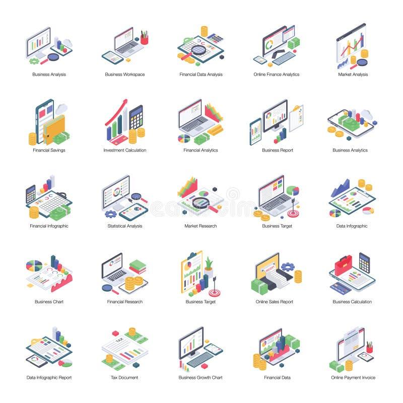 Data Analytics Pack of Isometric Icons vector illustration