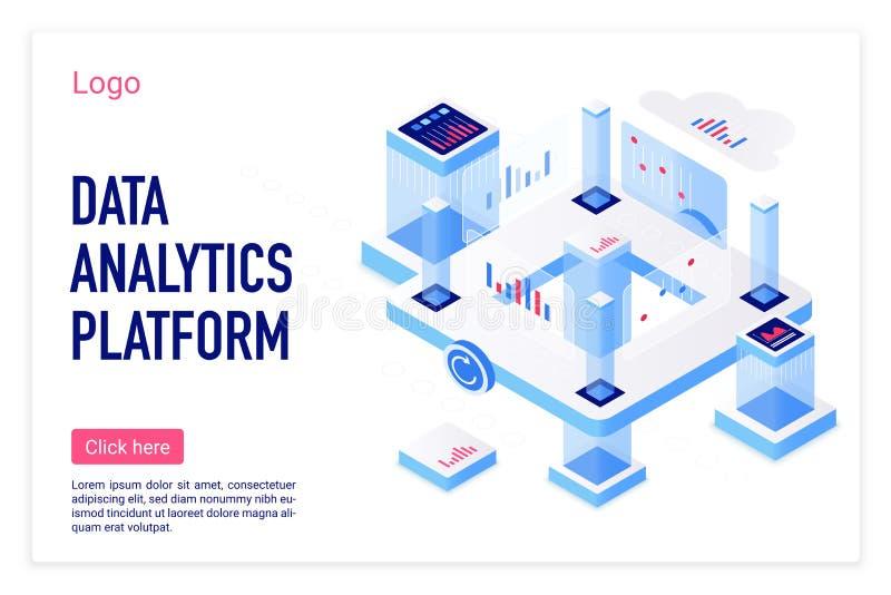 Data analytics platform vector isometric landing page template vector illustration