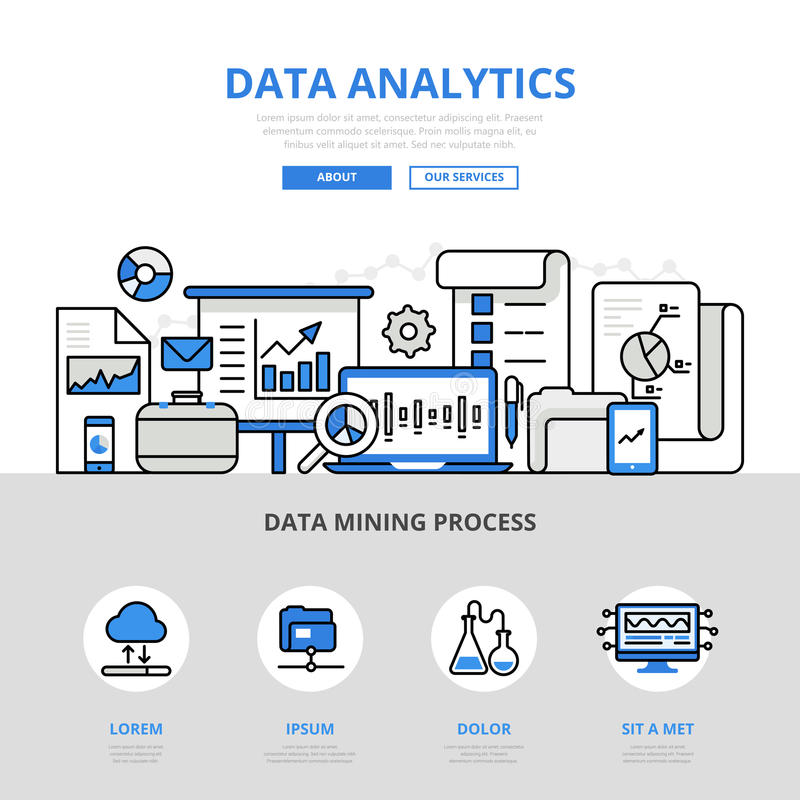 Data analytics report mining banner flat line art vector icons royalty free illustration
