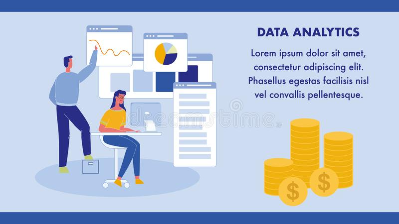 Data Analytics, Statistics Web Banner Template. Business Analysis Flat Vector Poster with Text Space. Woman with Laptop Sitting at Desk. Worker in Office. Man royalty free illustration