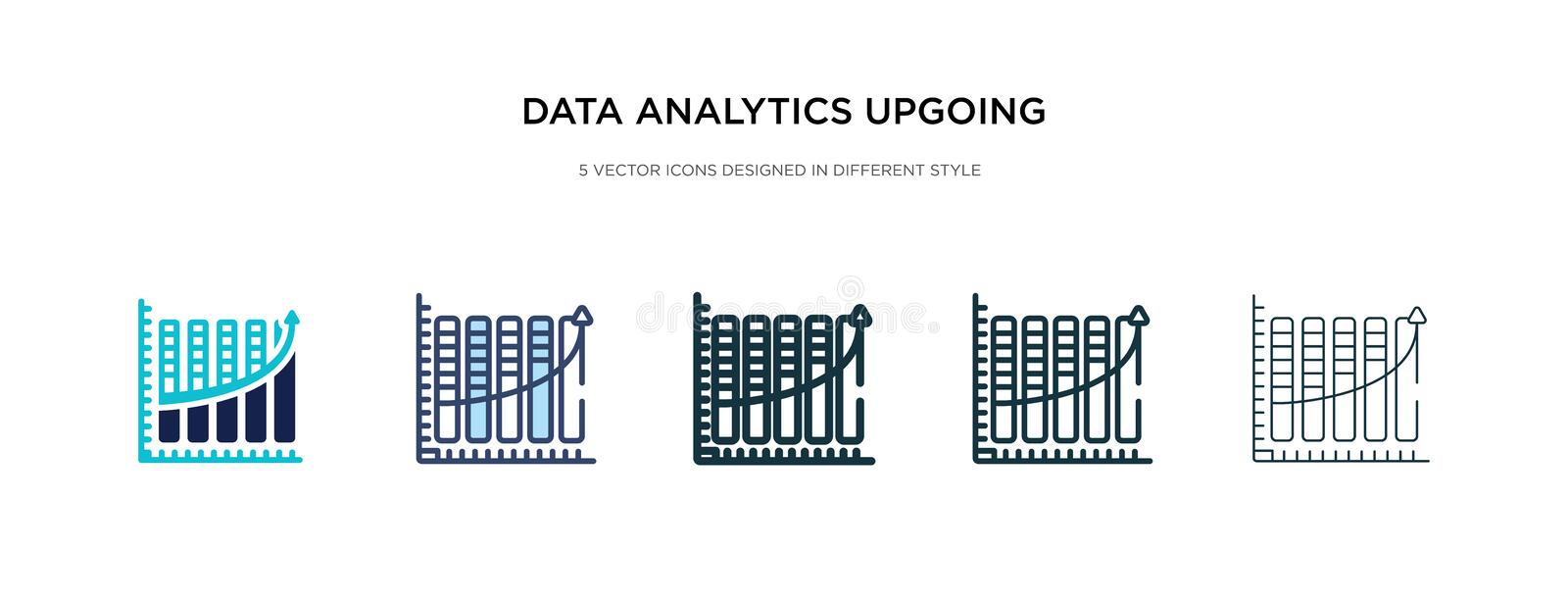 Data analytics upgoing bars chart icon in different style vector illustration. two colored and black data analytics upgoing bars. Chart vector icons designed in royalty free illustration