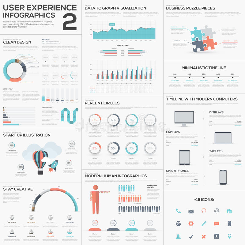 Free Data Analytics Vector Infographics With Clean Trendy Flat Design Stock Photos - 44312683