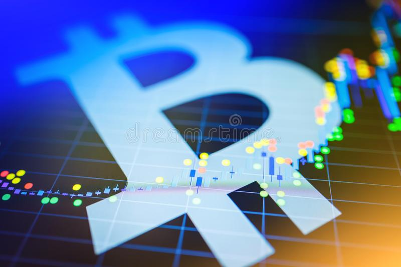 Data analyzing in exchange stock market: the candle chars on dis. Play. Analytics price change cryptocurrency BTC to USD & x28;Bitcoin / US Dollar& x29;, the stock photography