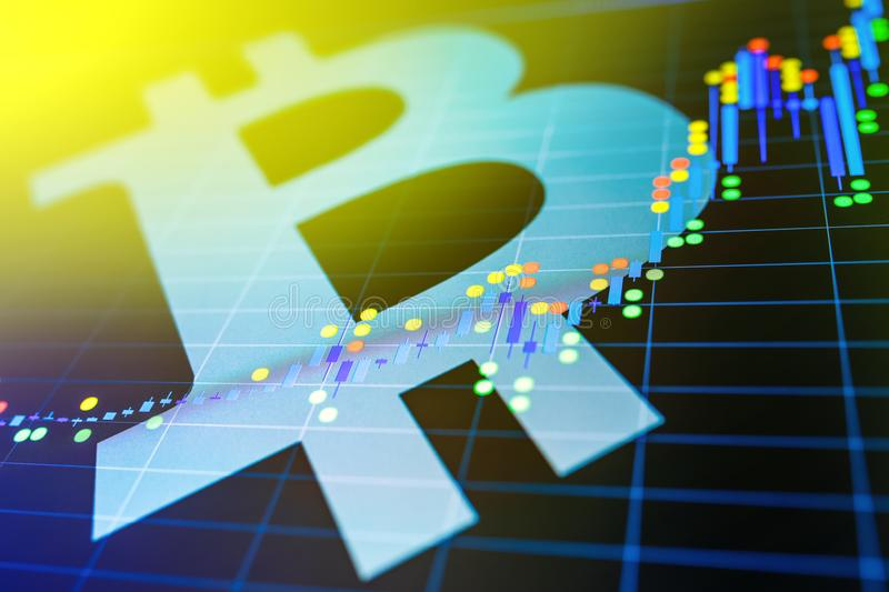 Data analyzing in exchange stock market: the candle chars on dis. Play. Analytics price change cryptocurrency BTC to USD & x28;Bitcoin / US Dollar& x29;, the royalty free stock photos