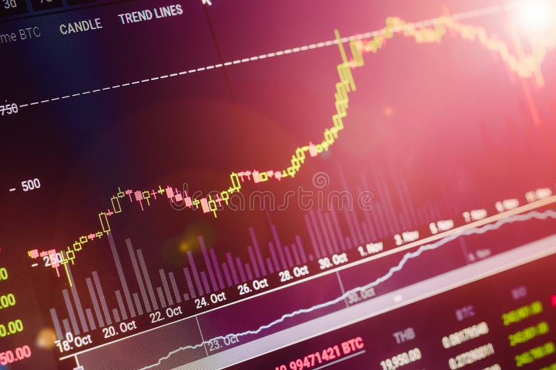 Data analyzing in exchange stock market: the candle chars on dis stock photo