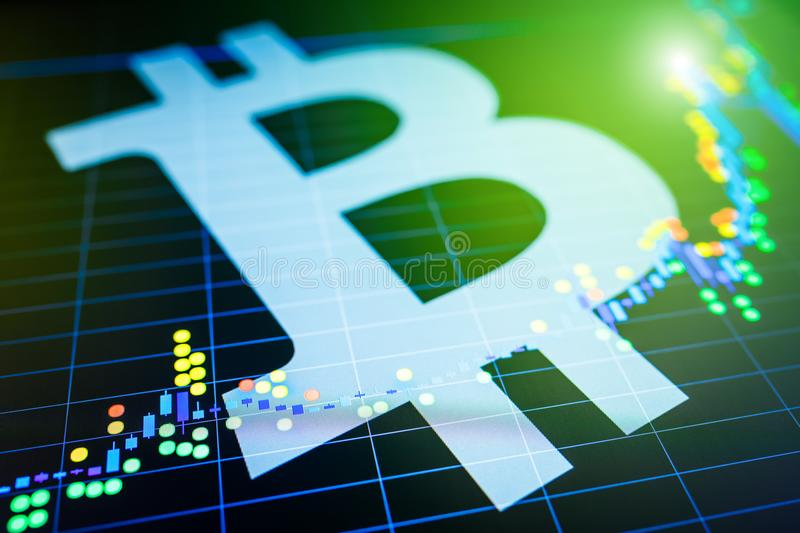 Data analyzing in exchange stock market: the candle chars on dis. Play. Analytics price change cryptocurrency BTC to USD & x28;Bitcoin / US Dollar& x29;, the royalty free stock images
