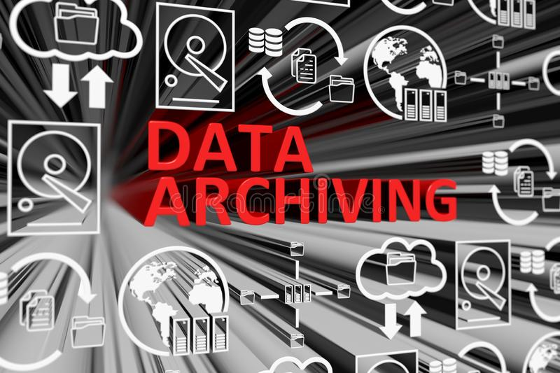 DATA ARCHIVING concept blurred background vector illustration