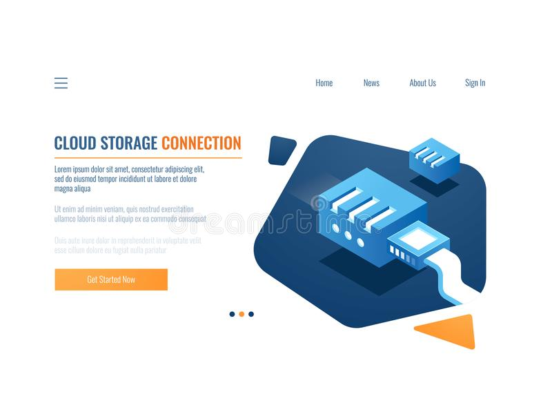 Data backup, cloud storage of clone data system, file warehouse service, plugin at network server room and datacenter royalty free illustration