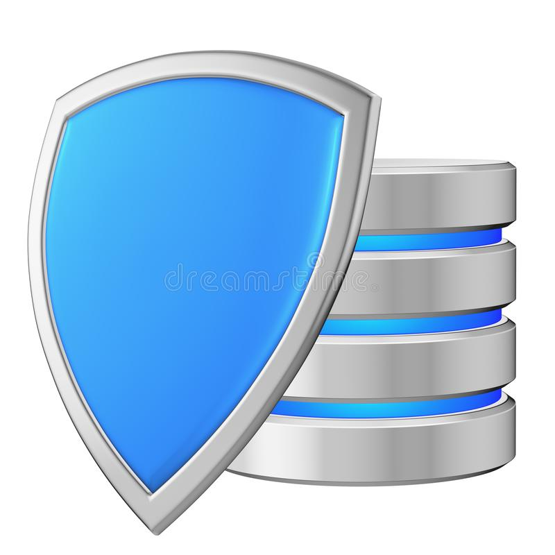 Data base behind blue metal shield on left data privacy concept royalty free illustration