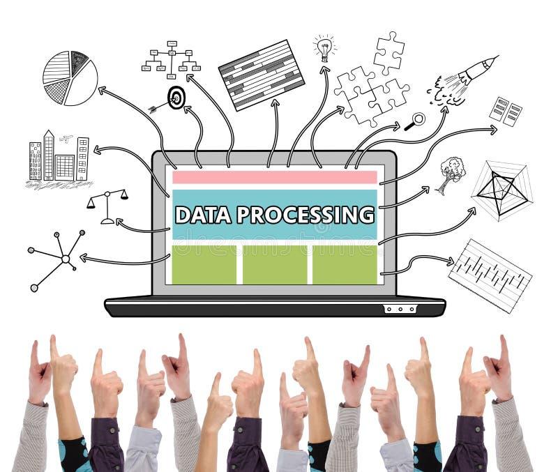 Data - bearbeta begreppet som pekas av flera fingrar royaltyfri foto
