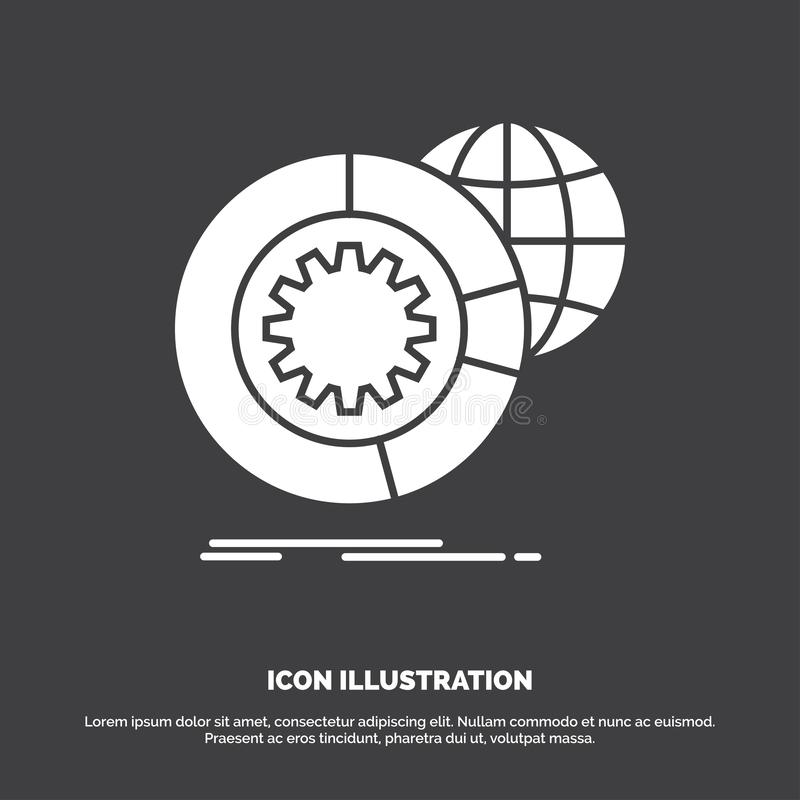 data, big data, analysis, globe, services Icon. glyph vector symbol for UI and UX, website or mobile application stock illustration