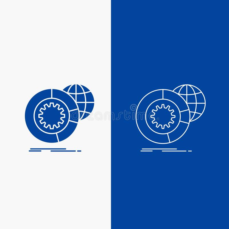 data, big data, analysis, globe, services Line and Glyph web Button in Blue color Vertical Banner for UI and UX, website or mobile vector illustration