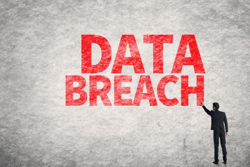 Data Breach. Asian business man write words on wall, Data Breach stock photography