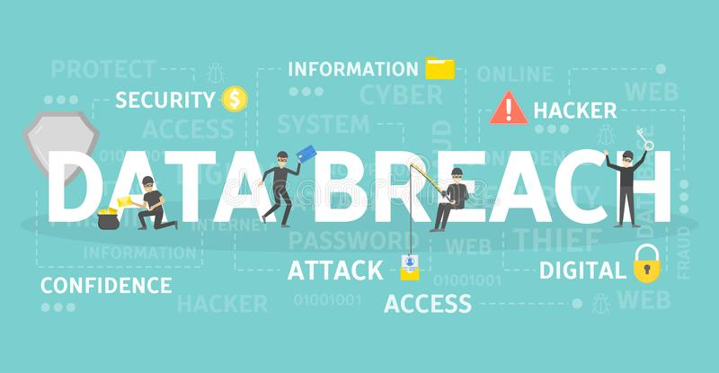 Data breach concept. Data breach concept illustration. Idea of hacking and spying stock illustration