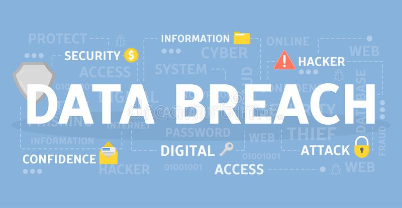 Data breach concept. Data breach concept illustration. Idea of hacking and spying royalty free illustration