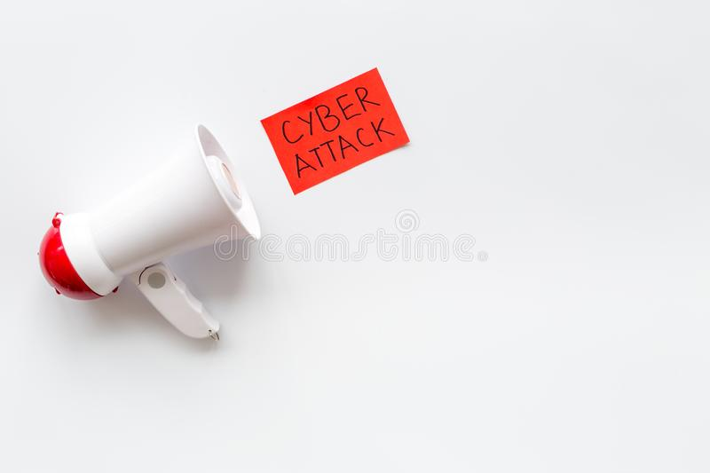 Data breach concept with megaphone on white background top view mock up royalty free stock photos