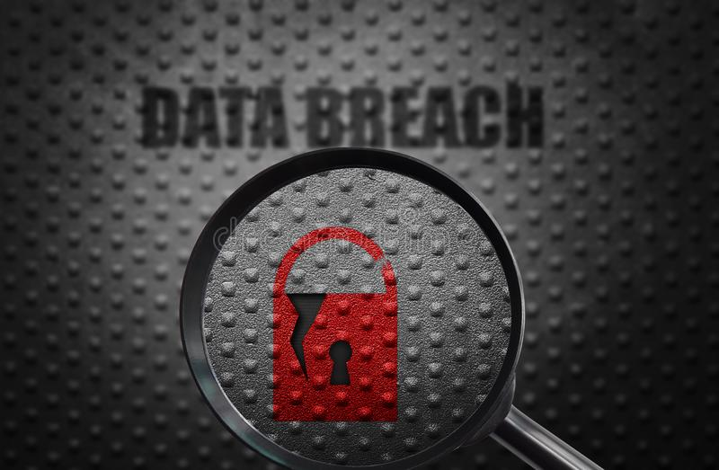 Data breach discovery. Broken security lock with magnifying glass and Data Breach text stock image