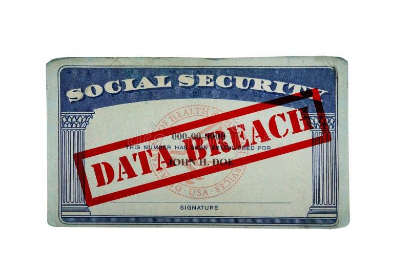 Data breach ID card. Social security card with Data Breach text isolated on white stock photos