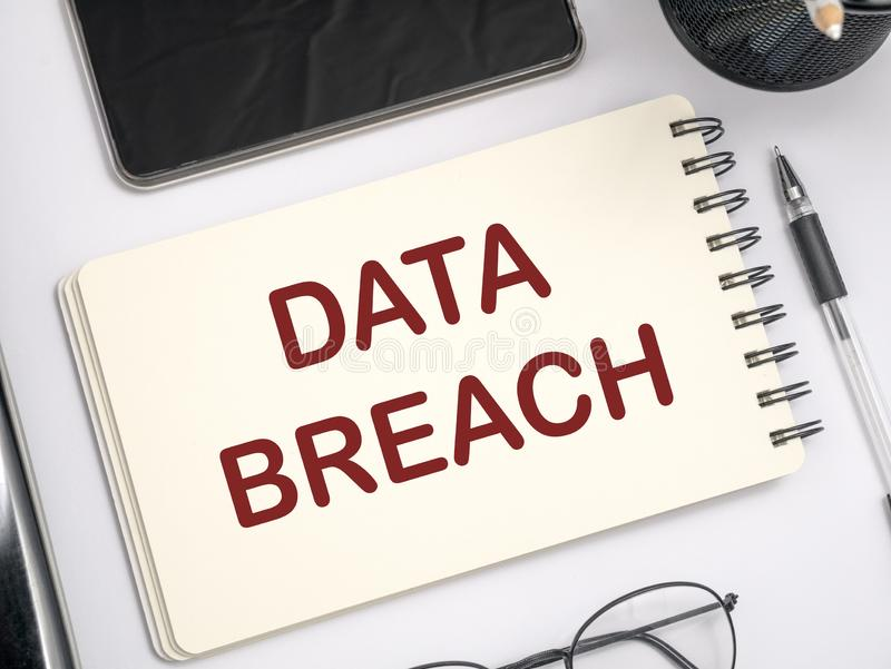 Data Breach, Internet Crime Words Concept royalty free stock images