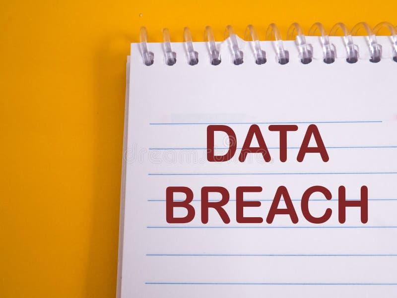 Data Breach, Internet Crime Words Concept. Data breach, internet crime words quotes typography lettering concept stock photography