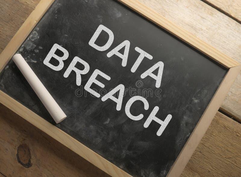 Data Breach, Internet Crime Words Concept. Data breach, internet crime words quotes typography lettering concept royalty free stock photos
