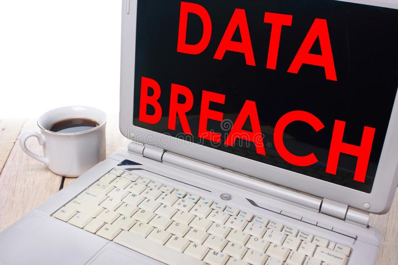 Data Breach, Internet Crime Words Concept. Data breach, internet crime words quotes typography lettering concept royalty free stock images