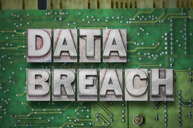 Data breach - pc board. Data breach phrase made from metallic letterpress blocks on the pc board background royalty free stock photos