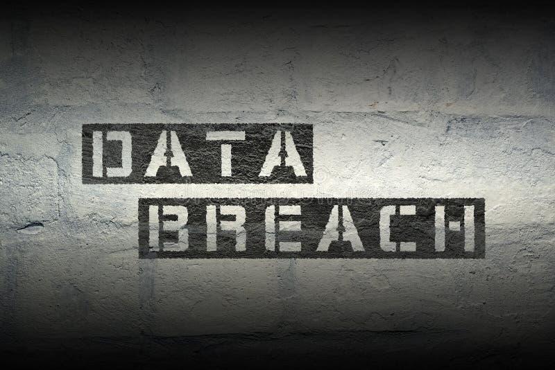 Data breach. Phrase stencil print on the grunge white brick wall stock photos