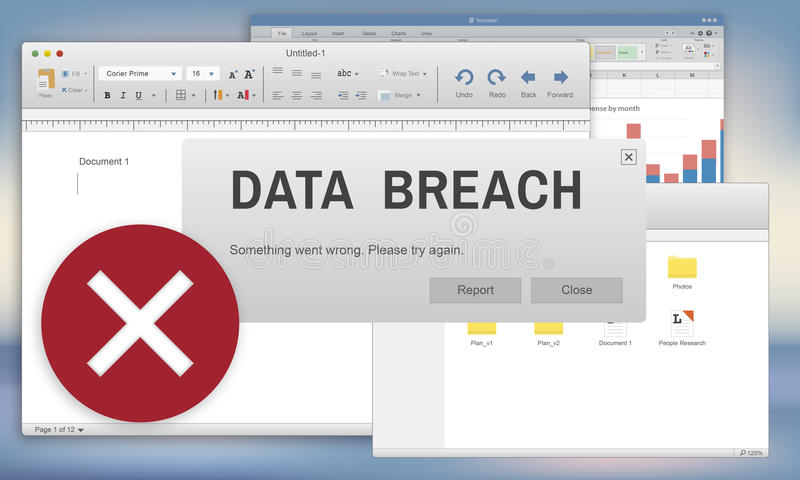 Data Breach Security Confidential Cybercrime Concept.  vector illustration