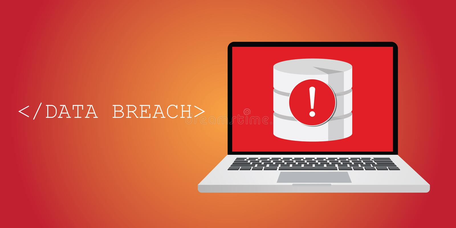 Data breach security warning. With notebok, and database warning vector illustration