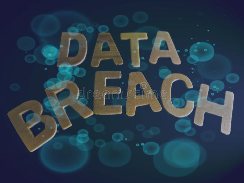 Isolated word of data breach with a dark background. Data breach technology royalty free stock photo