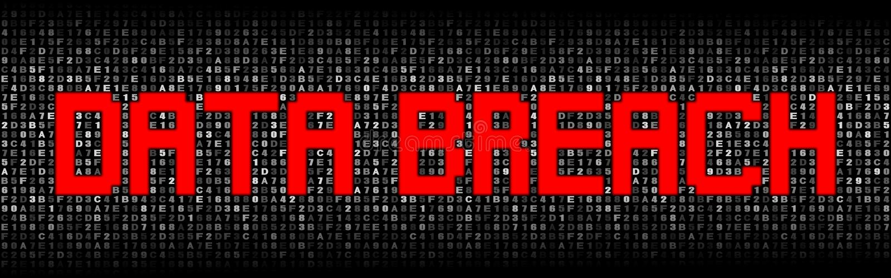 Data Breach text on hex code illustration. Red Data Breach text on abstract grey hex code illustration vector illustration