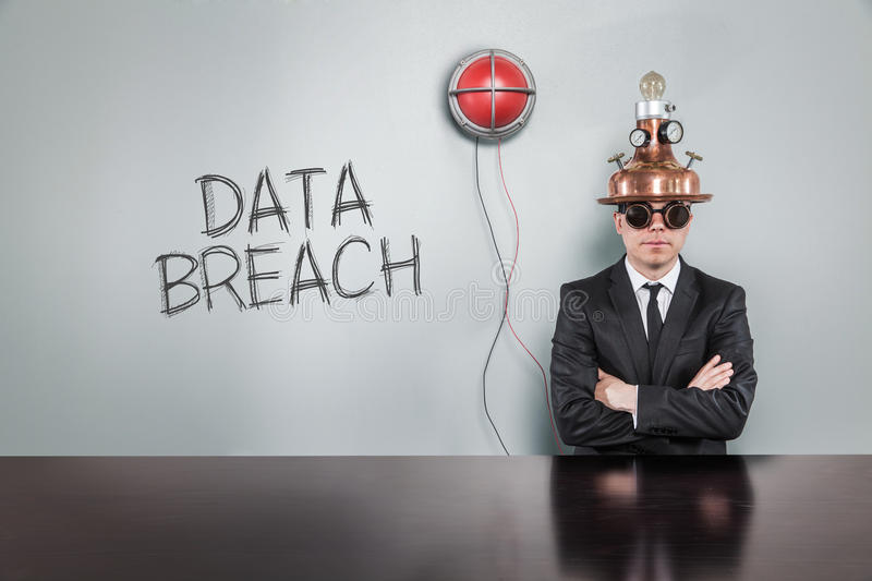 Data breach text with vintage businessman. And alert light royalty free stock photography