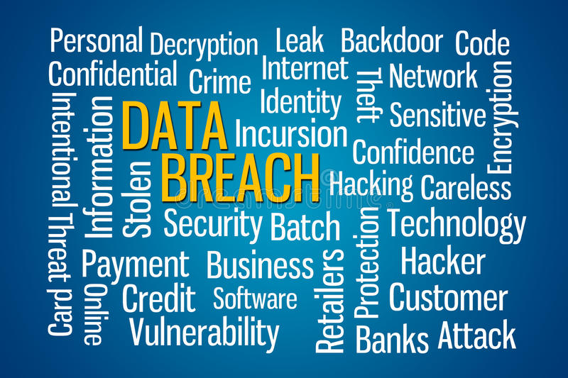 Data Breach. Word cloud on Blue Background royalty free stock photo