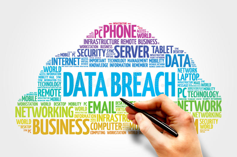 Data Breach. Word cloud concept royalty free stock image