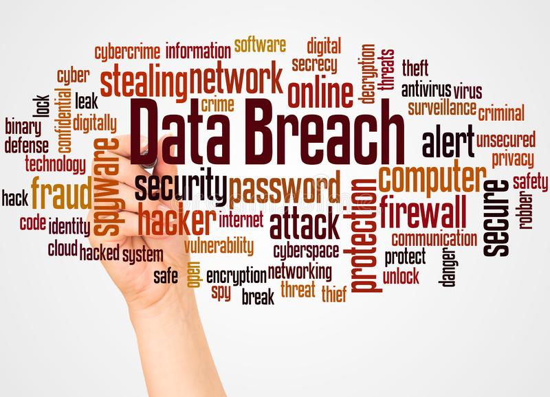 Data breach word cloud and hand with marker concept. On white background stock photos
