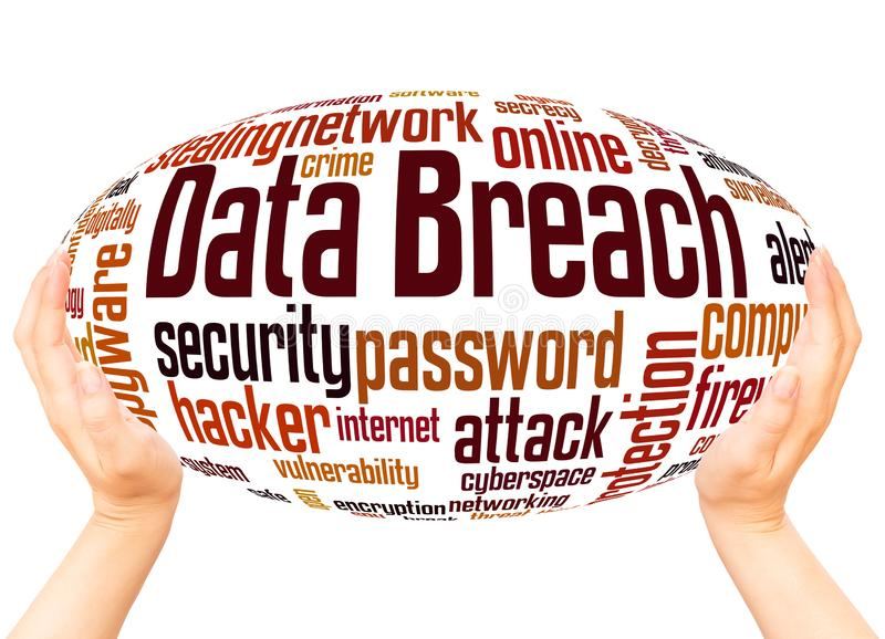 Data breach word cloud hand sphere concept. On white background stock photos