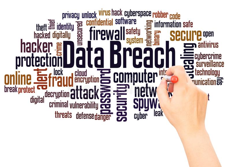 Data breach word cloud hand writing concept. Data breach, word cloud hand writing concept on white background stock image