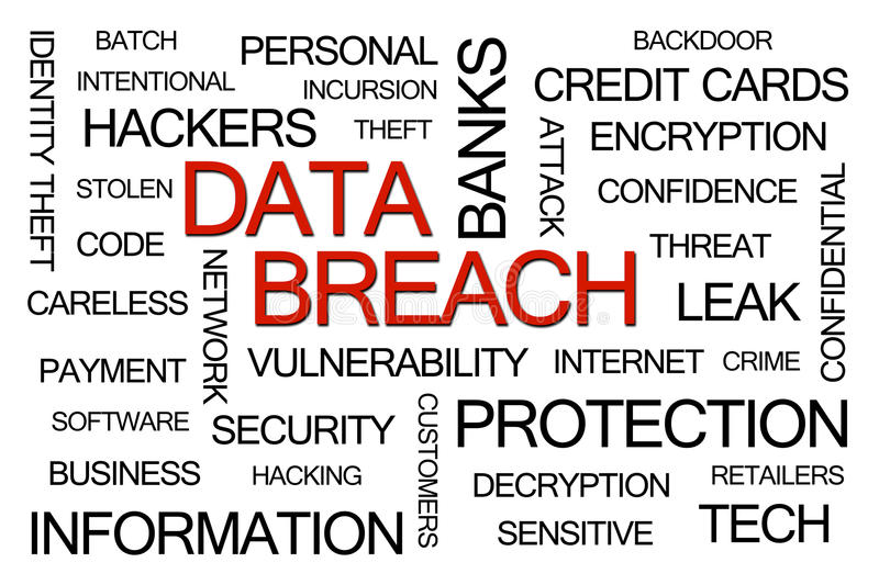 Data Breach Word Cloud stock illustration